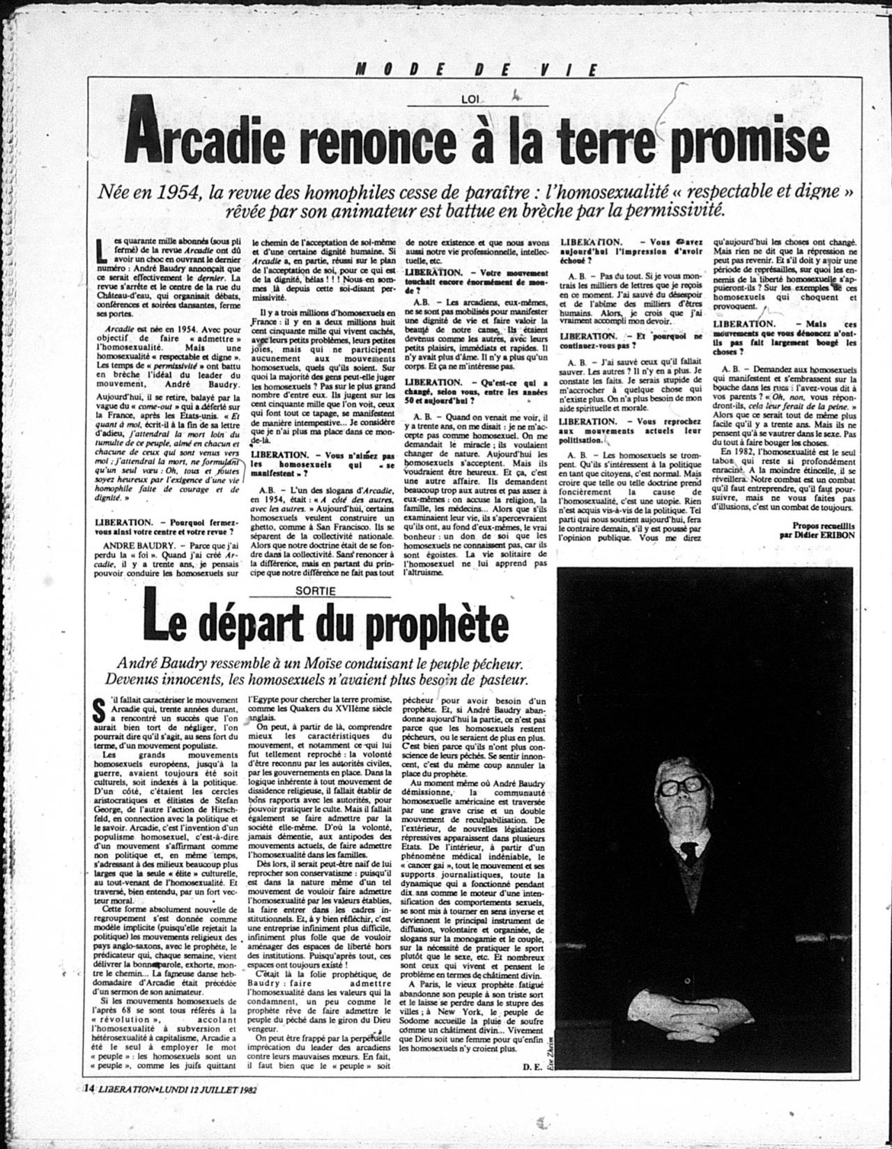 Foucault and Eribon 1982 - Le départ du prophète (on André Baudry)