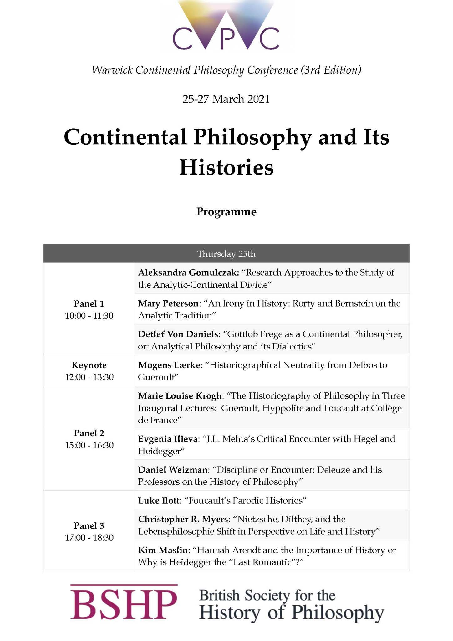 Warwick Continental Philosophy Conference. Online event (2020/21}